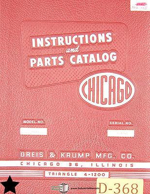 Chicago Dreis Krump 8l10 Press Brake Instructions And Parts Manual
