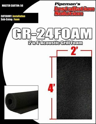"DJ Speaker Woofer Cabinet Grill Foam 2' Wide x 4'Long x 3/8"" Thick Black"