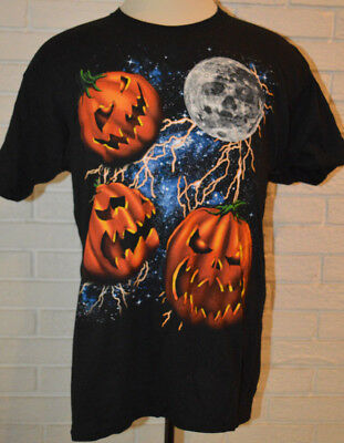 Men's Halloween Galaxy Pumpkins Short Sleeve Black T-Shirt Top Sz - Black Pumpkins Halloween
