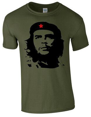 - Che Guevara Face Silhouette Iconic Retro Political Revolution Cuba Mens T Shirt