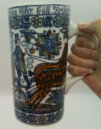 Antique Stein Large Mug Sweden German Poland Horse Carriage Colorful Art Pottery