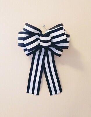 "10"" Farmhouse Wired Black and White Woven Bow Wreaths, Lanterns, Wedding, Home"