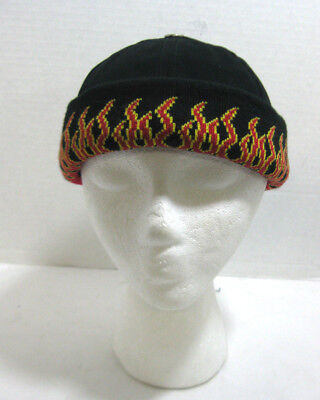 Black Bullet Cap w/ Red Flames on Cuff Biker Hat Winter Adjustable Beanie Knit (Black Flame Knit Beanie)