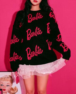 [BARBIE] BARBIE Edition BARBIE Lettering Jacquard Long Sleev Knit Sweater