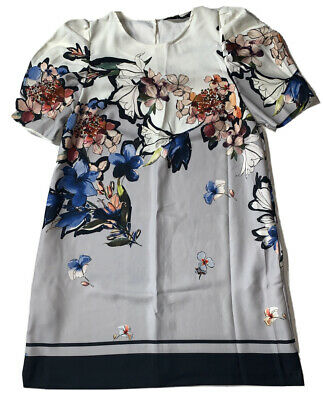 Preowned- Zara Short Sleeve Floral Shift Dress Womens (Size M)
