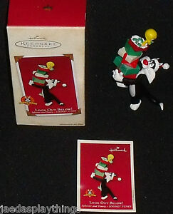 Hallmark-2002-LOOK-OUT-BELOW-Sylvester-Tweety-Ornament-Box-FREE-US-Ship