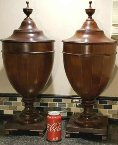 "Amazing Large Vintage Pair Victorian Mahogany 25"" Knife Cutlery Urns Boxes"