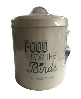 Bird Food Feed Storage Tin with Scoop Metal Birds Feeding Holder Seed Bin Cream