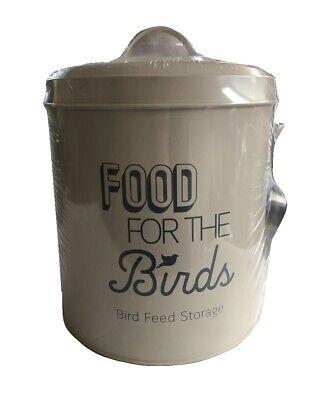 Bird Food Feed Storage Tin with Scoop Metal Birds Feeding Holder Seed Bin Cream