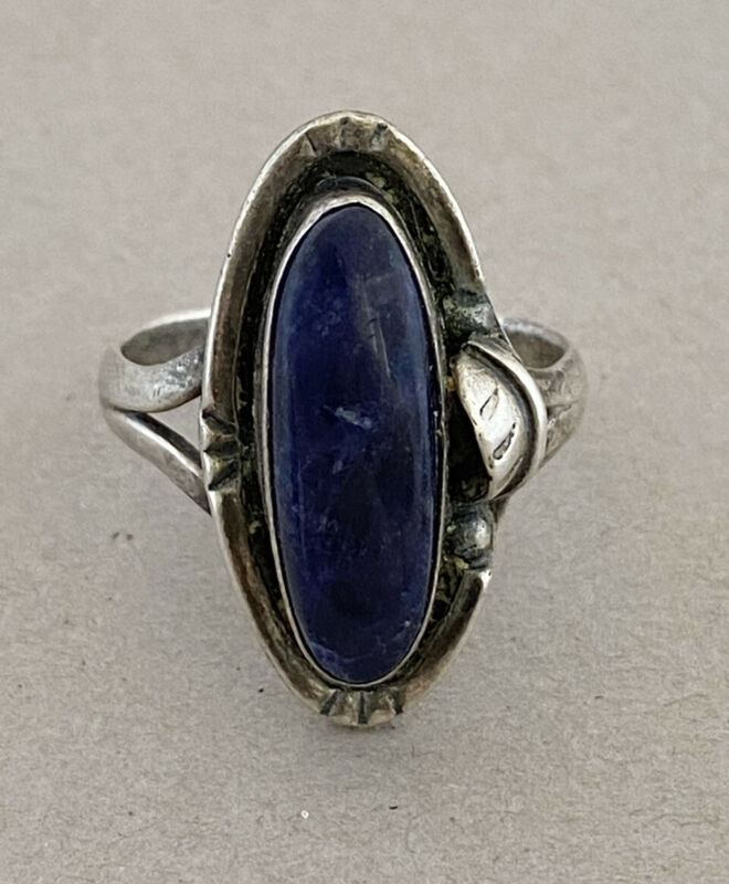 Vintage Taxco Mexico Sterling Silver Lapis Lazuli Southwest Style Feather Ring