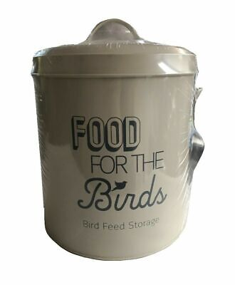 Wild Bird Large Storage Tin Cream with Metal Scoop/keep fresh bird Food Seed Bin