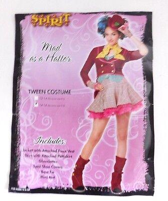 Mad As A Hatter Alice In Wonderland Size XL 14-16 Halloween Costume Tween Girl  - Alice In Wonderland Costume Spirit Halloween