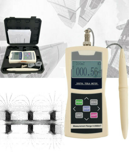 Tesla Meter Gauss Meter Digital Gaussmeter Magnetic Flux Meter Radial Hall Probe