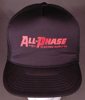 Vtg All-Phase Electric Supply Hat-Black-Rope Bill-Trucker-Fist Lighning Bolt-Wrk