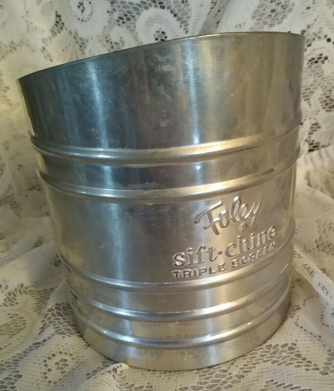 Vintage Silver Foley Sift-chine Triple Screen Flour Sifter ~ Shabby Chic Kitchen