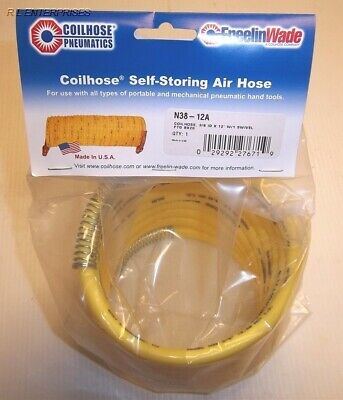 """Coilhose Pneumatic 3/8"""" x 12"""" Self-Storing Air Hose N38-12A ***Made in USA***"""