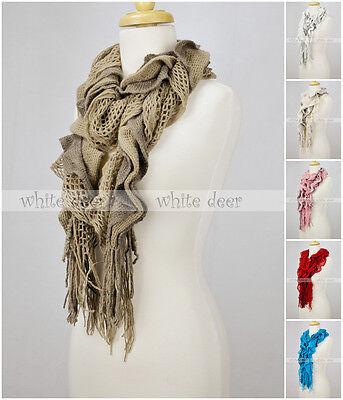 Layer Scarf - Knitted Sashay Ruffled Fluffy Winter Scarf Crochet Multi Layer Fishnet Tear Drop
