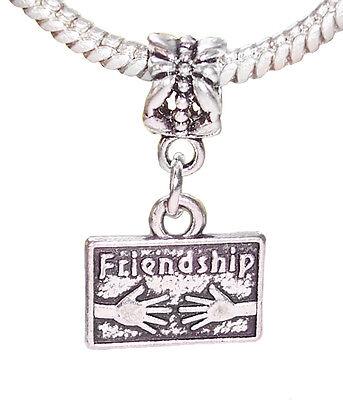 Friendship Hands Best Friend Gift BFF Word Dangle Charm for European