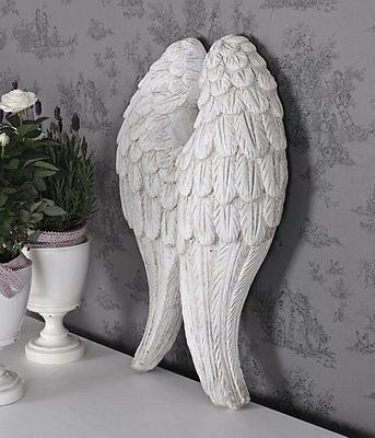 Flügel Engel Weiss Engelsflügel Vintage Wanddeko Wandskulptur Shabby Chic
