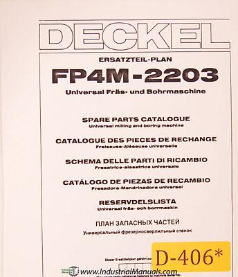 Deckel Fp4m-2203 Universal Tool Milling Boring Spare Parts Manual Year 1983
