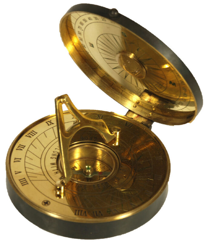 "4"" Sundial Compass Brass w/  Leather Case Sun Dial"