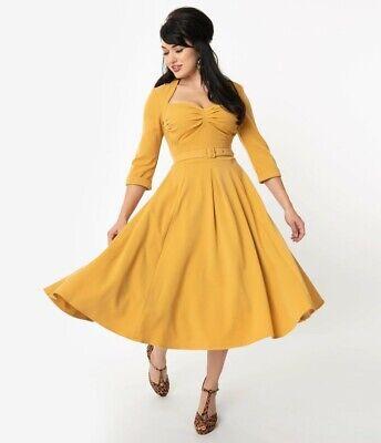 Miss Candyfloss Naila Mustard Yellow Swing Dress Sz S Unique Vintage Retro NWT