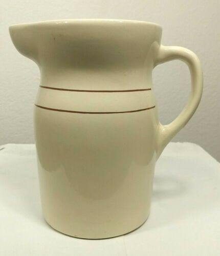 """Vintage Antique Brown & Cream Pottery Crock Water Milk Pitcher 8"""" Tall Signed"""