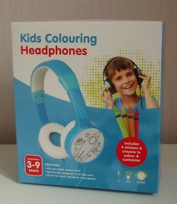 KIDS COLOURING HEADPHONES - BLUE - AGE 3-9yrs - BNIB