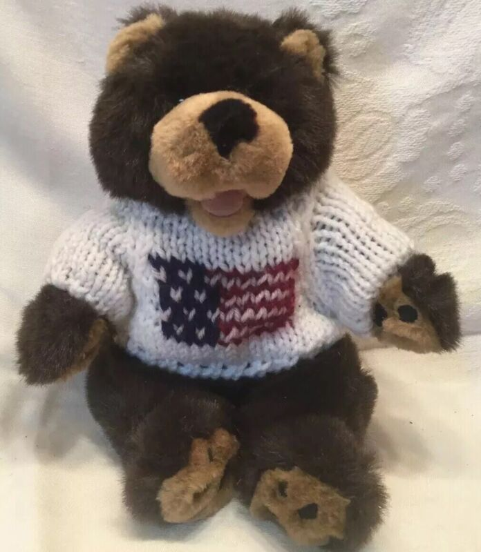 """Cute Patriotic Bear Wearing Sweater with American Flag  8"""" Plush vgc toe beans"""