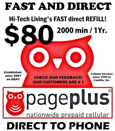 Page Plus $80 Direct REFILL 1 yr 2000 minutes  🔥 GET IT TODAY FAST 🔥 TRUSTED