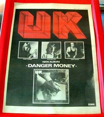 UK Danger Money Vintage ORIGINAL 1979 Press/Mag ADVERT Poster-Size John Wetton