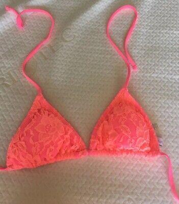 Delia's Neon Bikini Top - Padded Pink Orange Lace Xs Extra Small Halter - Padded Halter Bikini Top