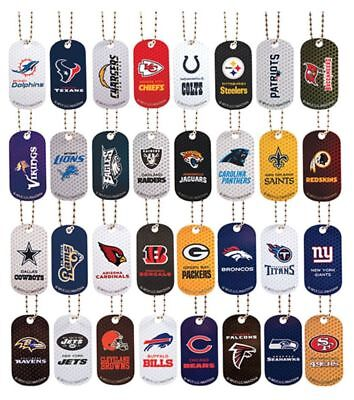 - NFL Team Logo Dog Tag Metal Necklace - Officially Licensed Pick Your Team