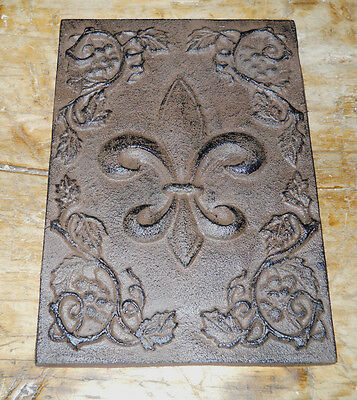 Home Fleur De Lis - HUGE Cast Iron FLEUR DE LIS Plaque Finial Garden Sign Home Wall Decor Rustic
