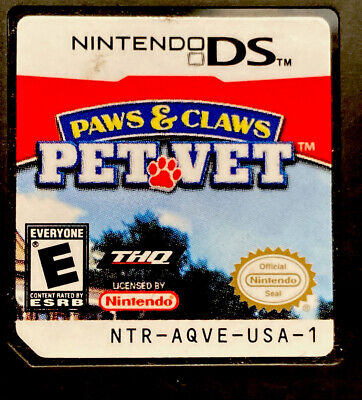 Paws & Claws: Pet Vet (Nintendo DS, 2007) Looks And Works Great Pet Vet Nintendo Ds