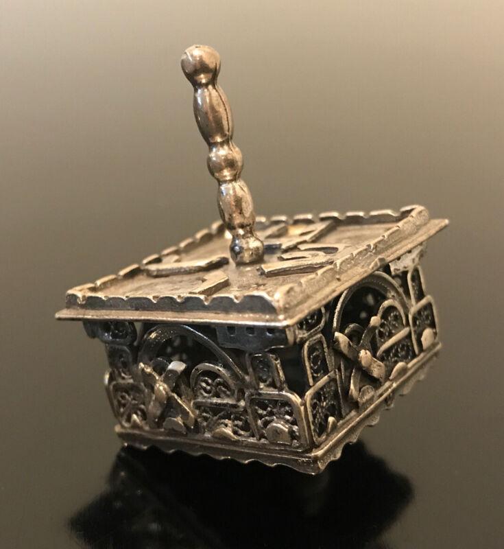 Sterling SILVER Filigree DREIDEL Hanukkah Top Display Judaica Draydel Ornate