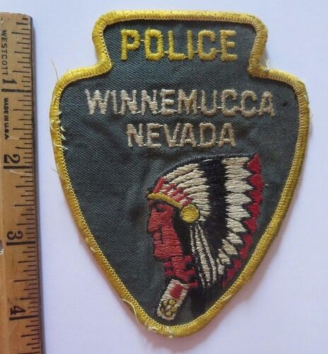 Vintage Police Patch Winnemucca Nevada Indian in Profile 3 1/2 x 4 3/8 - OLD!