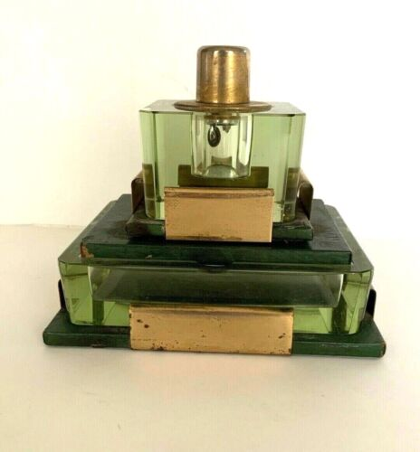 Vintage MCM Heavy Table Lighter Green Glass Insert Matching Ashtray Desk Set