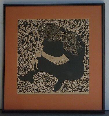 "Phyllis Sloane ""DANCER RESTIN"" Pencil Signed Corkcut Original Art Young Girl"