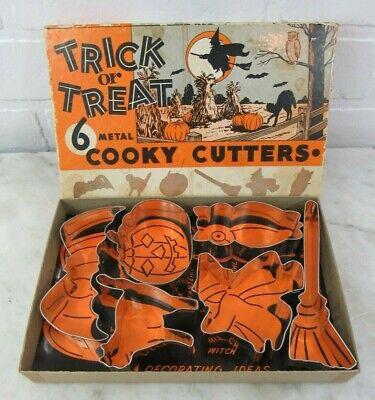 "1940's 6 Metal Trick Or Treat "" Cooky Cutters "" in Original Box Halloween"