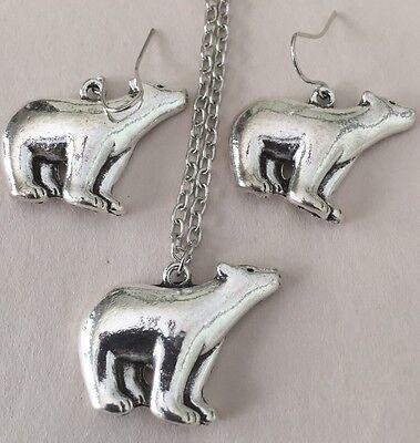 Silverplated Bear Polar Bear Necklace Earring Set Polar Circle Earrings