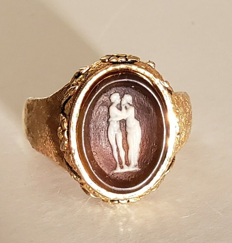 Vintage Cameo Style Gold Plated Ring