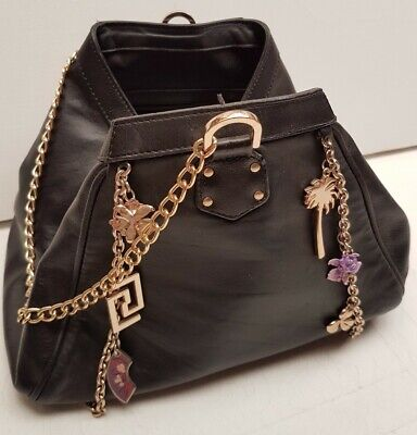 VERSACE for H&M black real leather boxy handbag gilt chain strap and trim