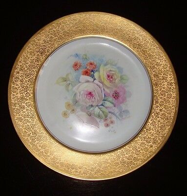 "PICKARD ETCHED GOLD HAND PAINTED PLATE SIGNED ""CHALLINOR"", ROSENTHAL, ROSES, 11"""