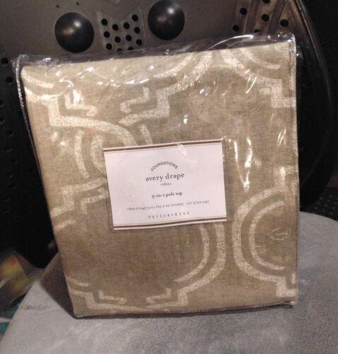 1 Pottery Barn Avery Graphic Print Linen Drapes Panels Curtains Neutral 50x84