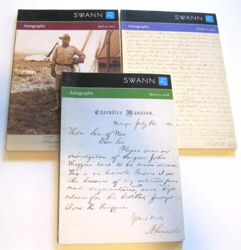 Lot 3 AUTOGRAPH Auction Catalogs Jefferson Lincoln Roosevelt Set Swann Galleries