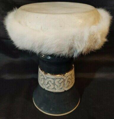 SIGNED ARTIST! Percussion Ceramic Goblet Hand Drum Darbuka Doumbek Tombak Celtic segunda mano  Embacar hacia Argentina