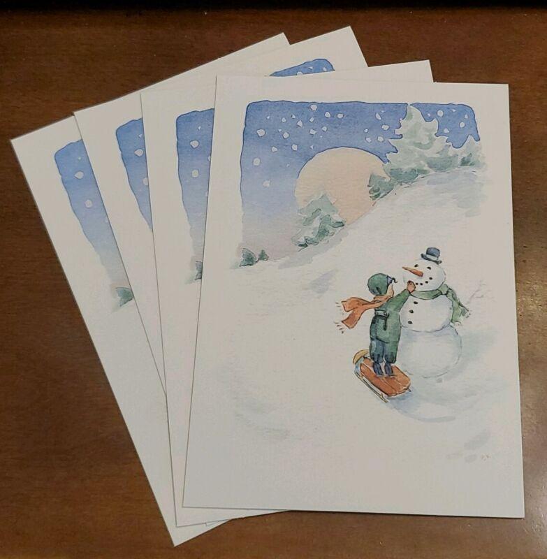 4 Becky Kelly & Hallmark Cards Christmas Cards, Child building a snowman