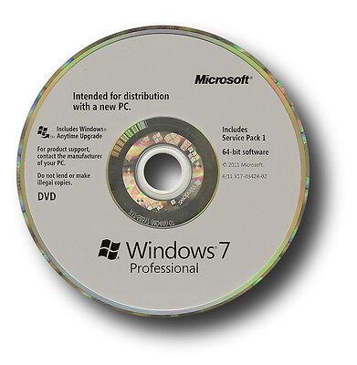 Genuine Microsoft Windows 7 Professional OS SP1 64 bit DVD & Product key coa