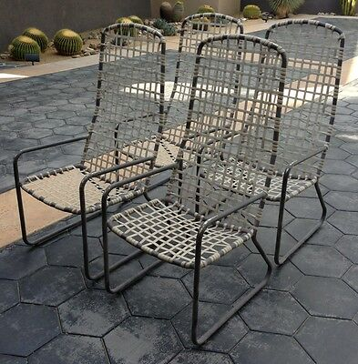 Vintage Brown Jordan High Back Patio Dining Chair Set of 4, Lido Line Back Patio Dining Set